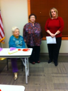 School board member, Ann Nason (right), presented on Special Needs and Common Core Education. Also pictured, AAUW secretary, Lindell Edwards (left), and meeting organizer, Pam Todd (center).