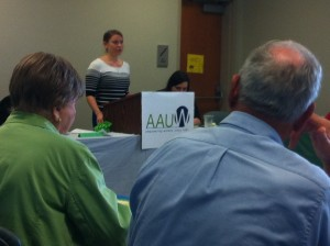 Presentation about AAUW Grant and Scholarship opportunities by LSUA AAUW student organization co-faculty advisor, Katie Whitaker